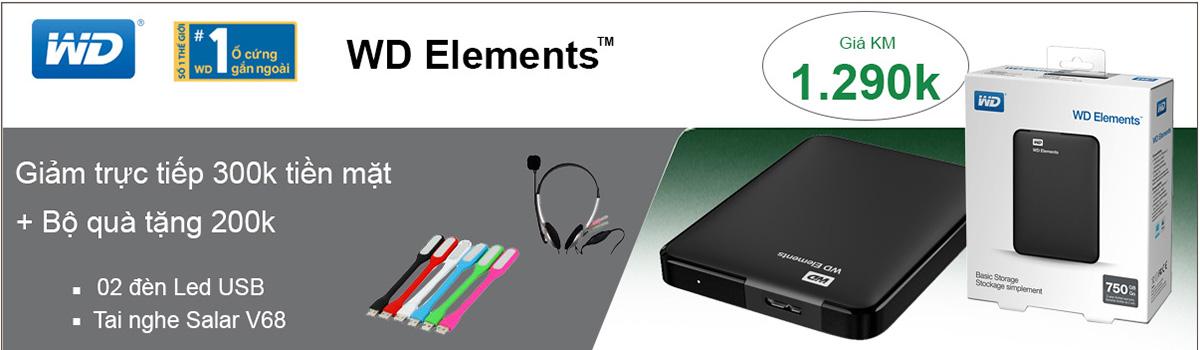 Ổ cứng di động 750GB WD Elements 750gb giá rẻ Hà Nội, Hồ Chí Minh