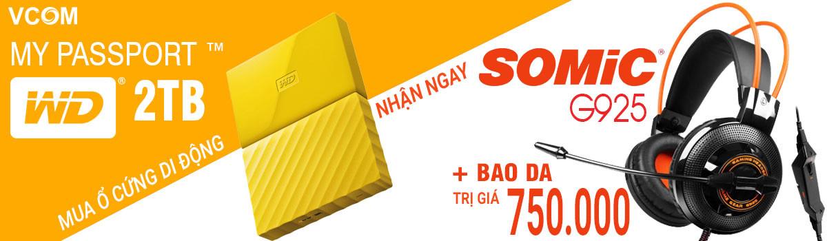Banner danh mục WD My Passport 2TB yellow tặng tai nghe Somic G925